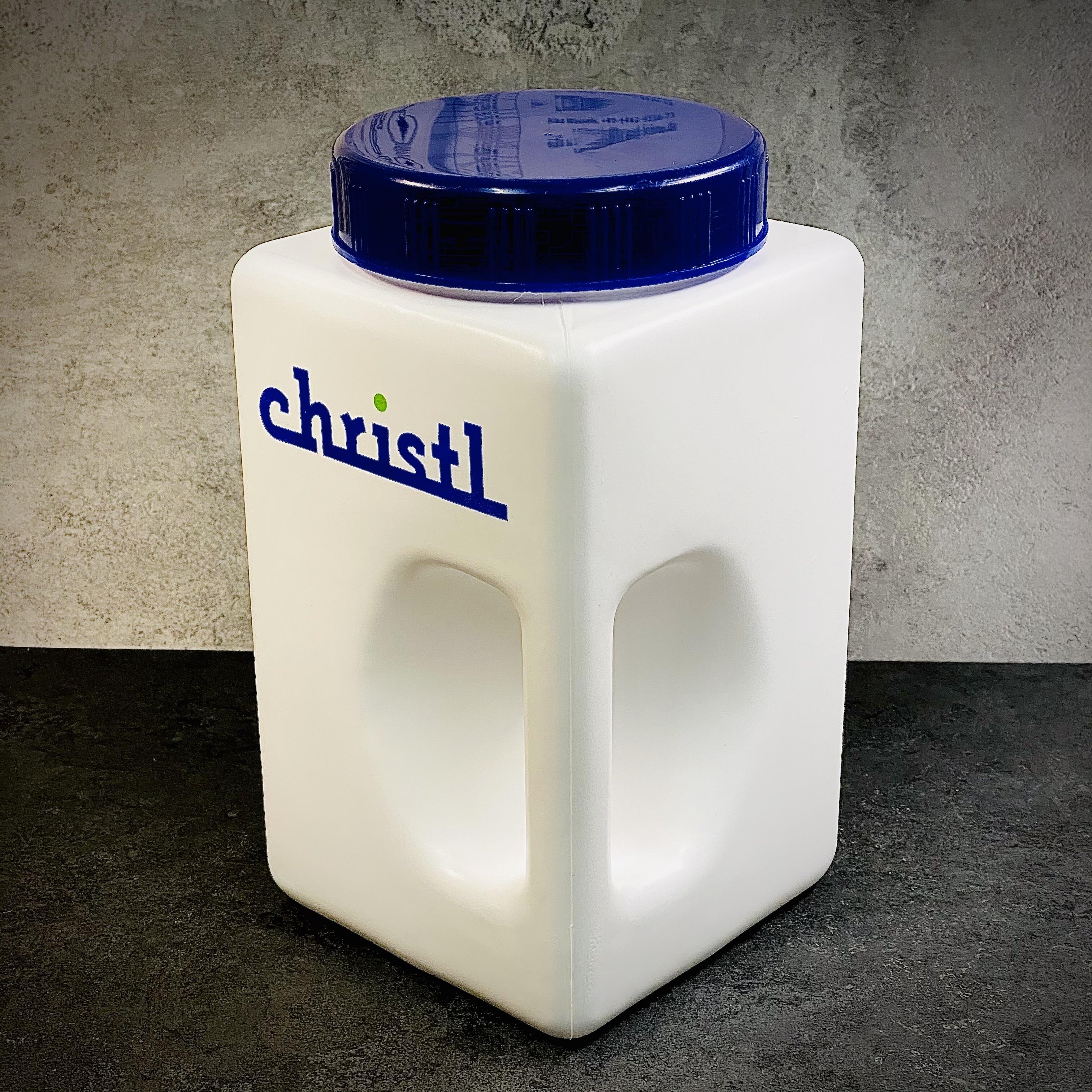 CHRISTL | CHRISALE Gewürzdose, weiß mit blauem Schraubverschluss, Schütte, Gewürzschütte, 3,9 Liter