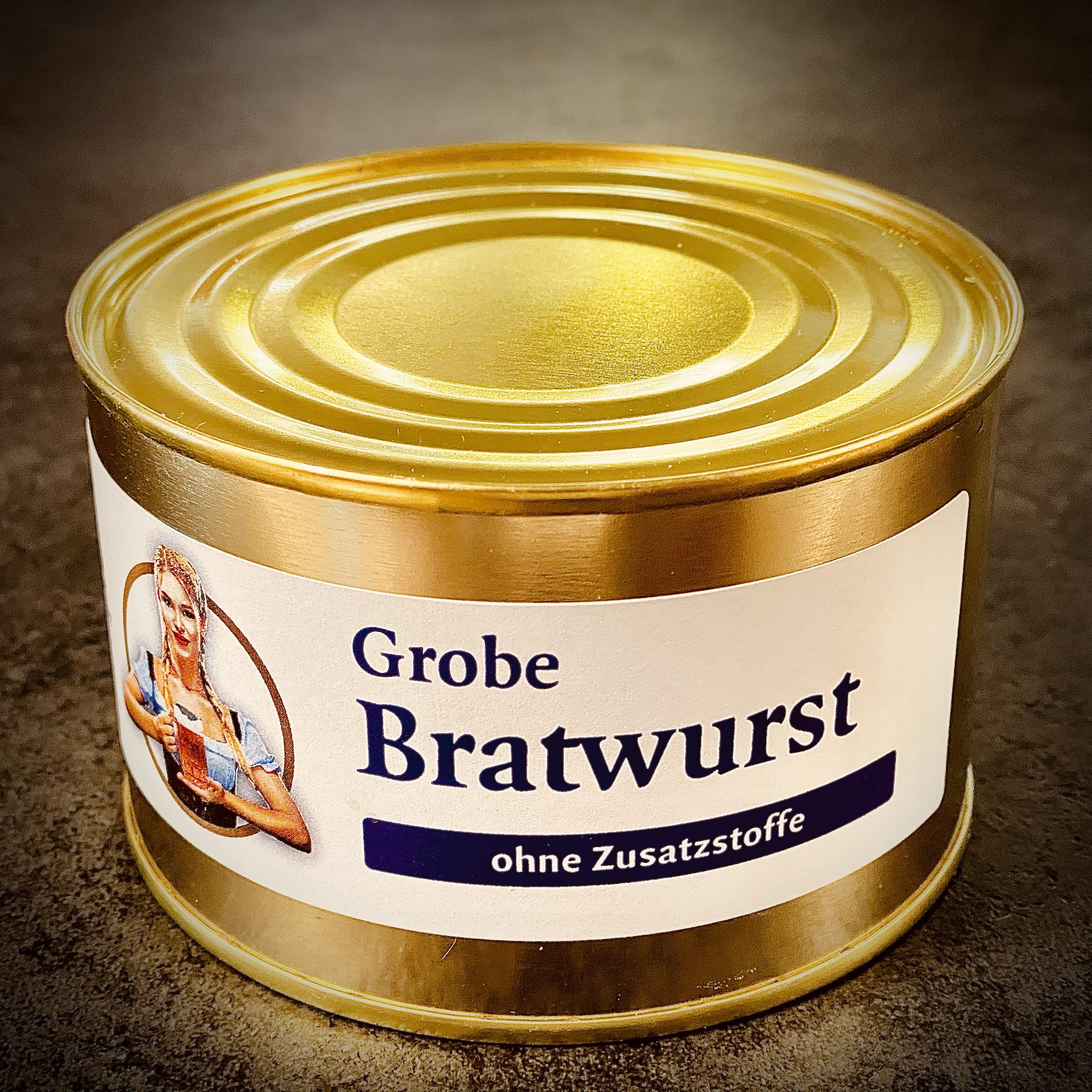 Grobe Bratwurst aus der Wirtshausküche. Allergenfrei. Ohne Geschmacksverstärker.